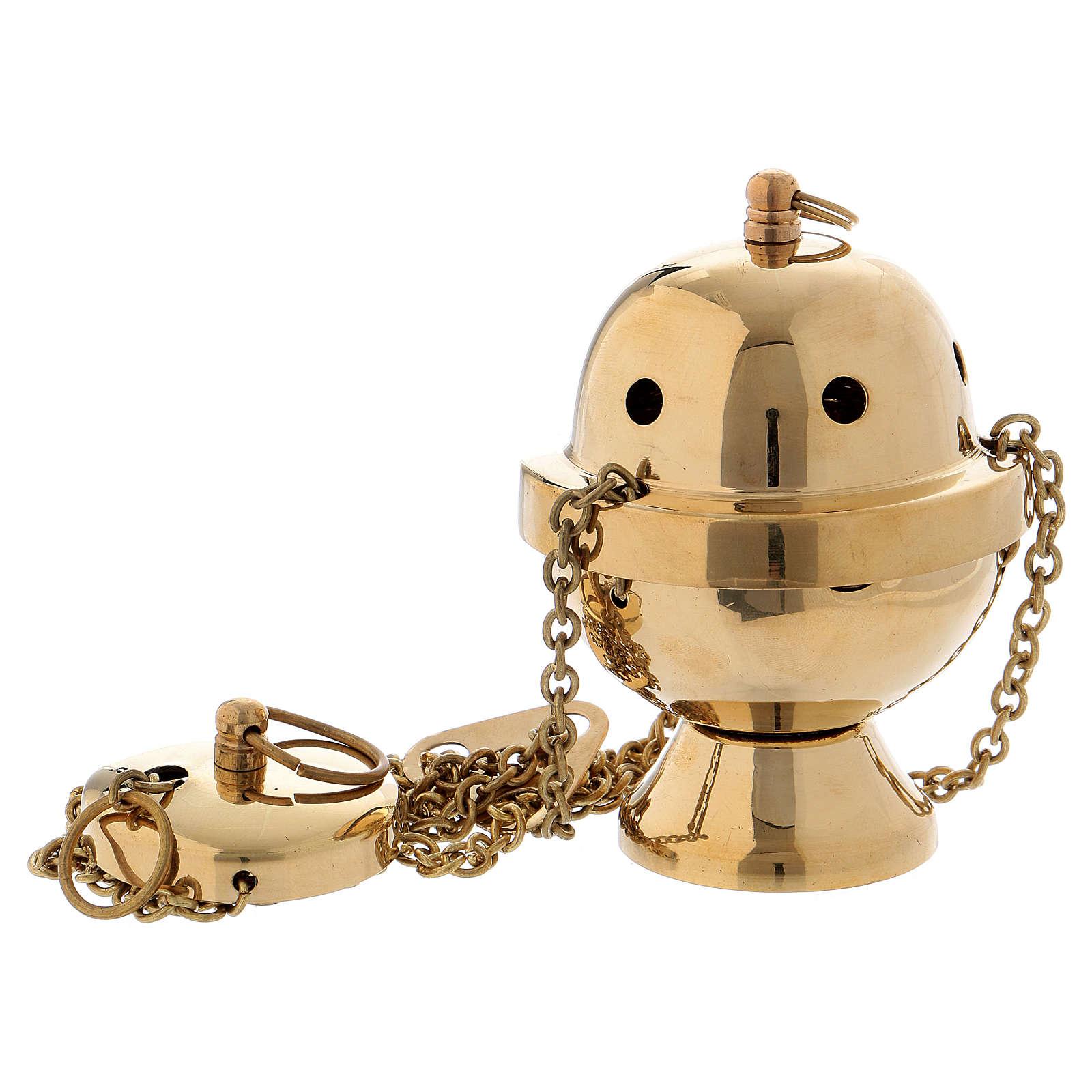 Incensario simple latón dorado 10 cm 3