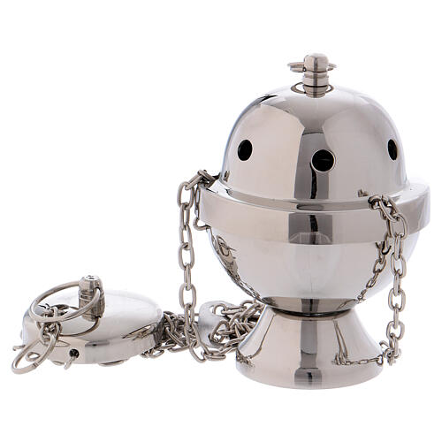 Thurible in silver-plated brass mirror effect 4 1/4 in 1