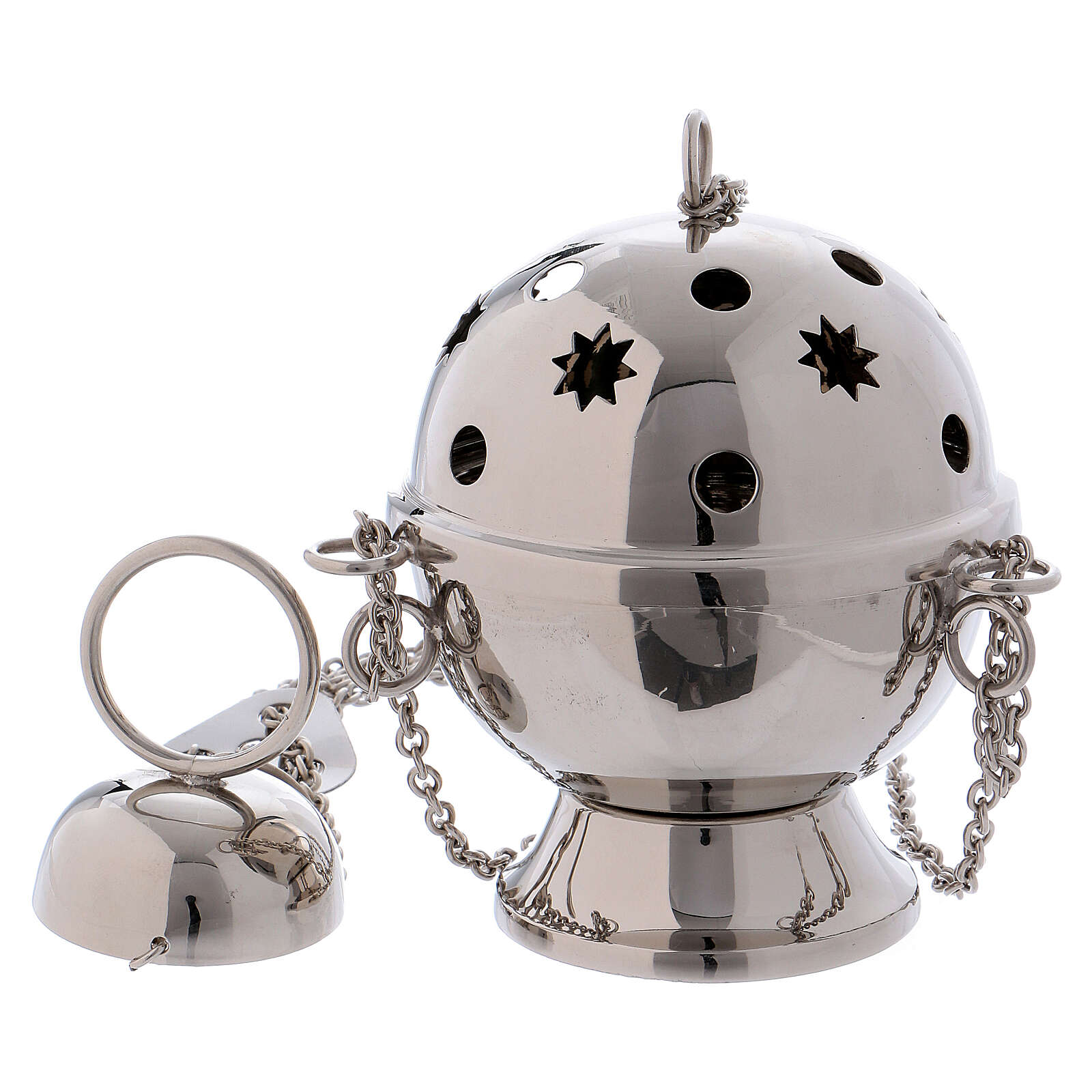 Silver-plated brass thurible with circle and star shaped holes 3