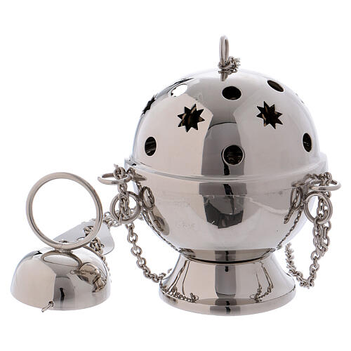 Silver-plated brass thurible with circle and star shaped holes 1