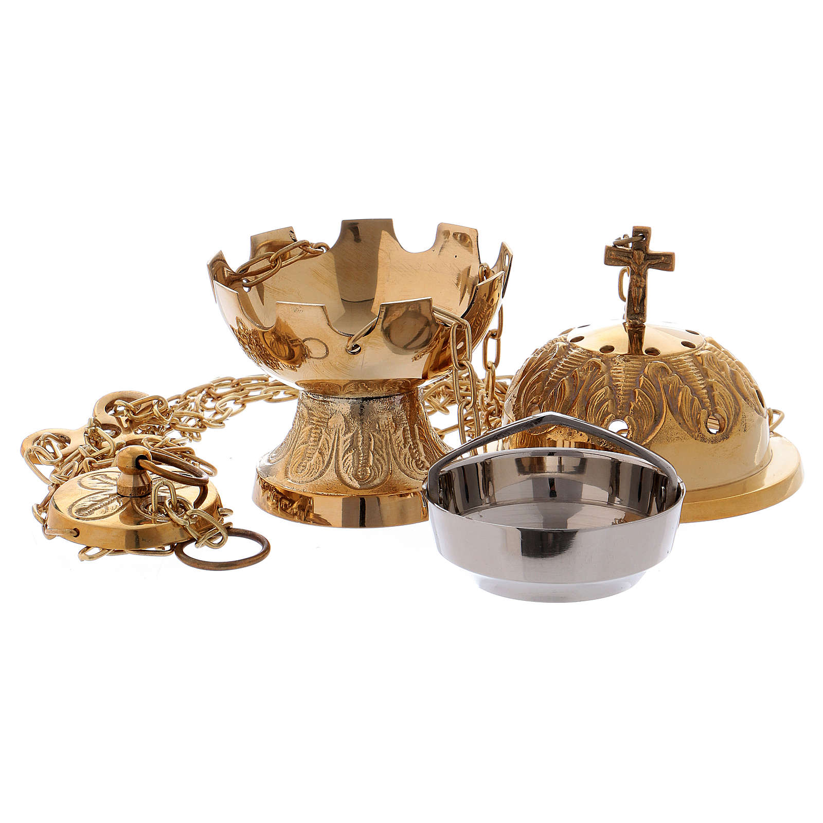 Encensoir ciselé avec croix laiton doré 3