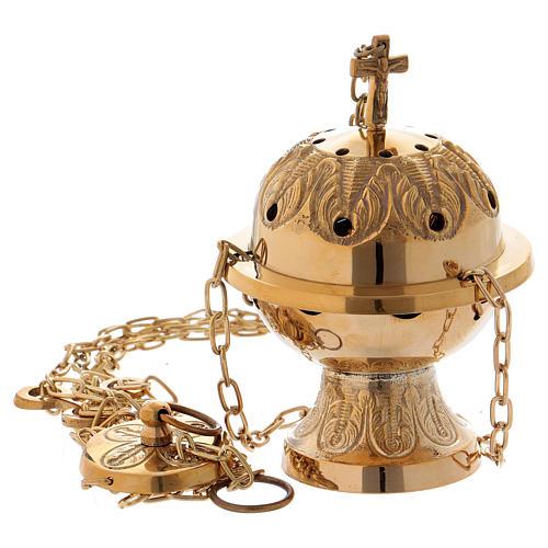 Turibolo cesellato con croce ottone dorato  1