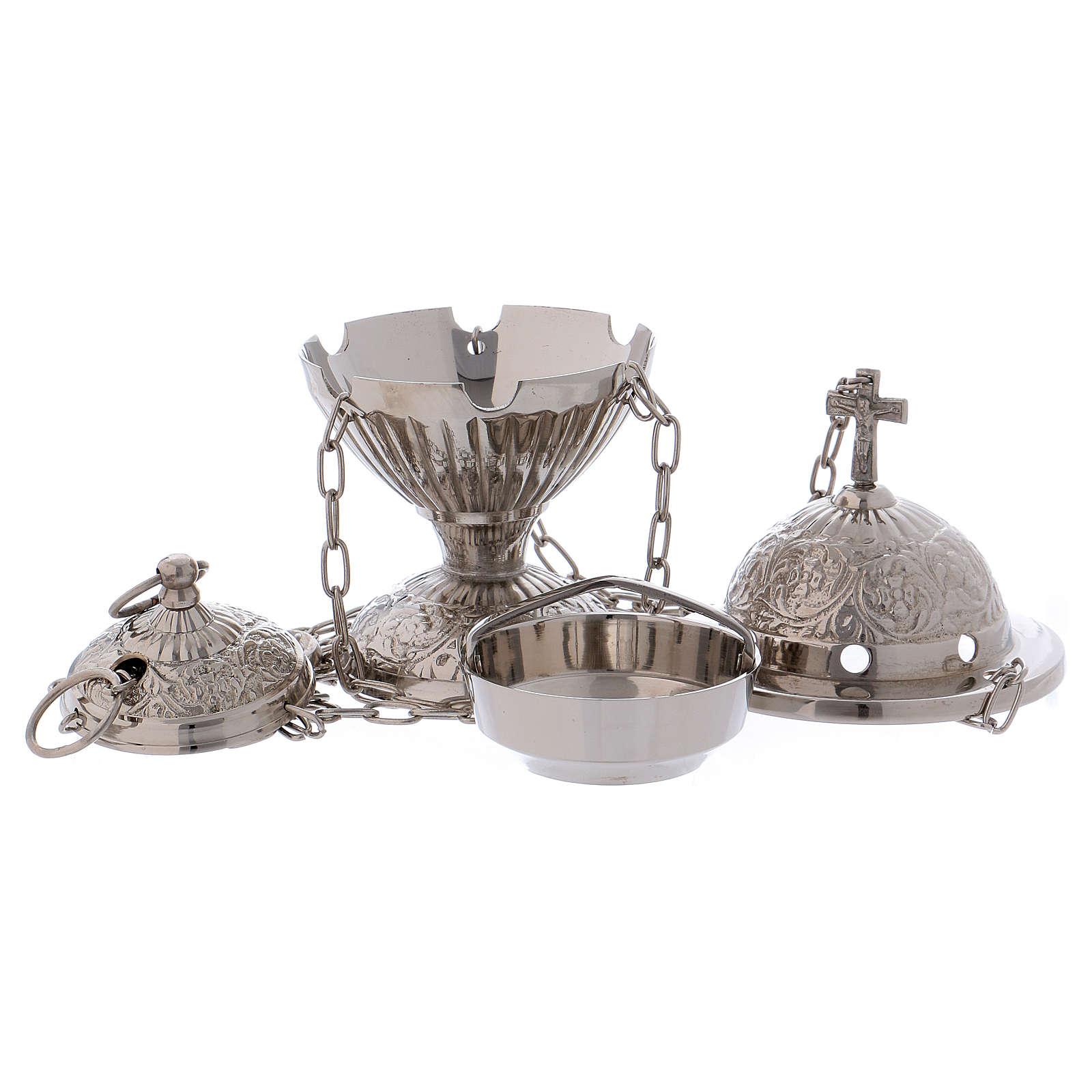 Encensoir avec croix décoré laiton argenté 3