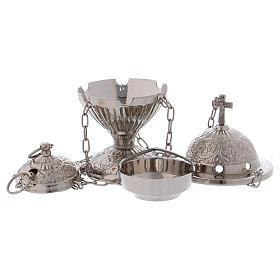 Encensoir avec croix décoré laiton argenté s2