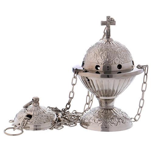 Encensoir avec croix décoré laiton argenté 1