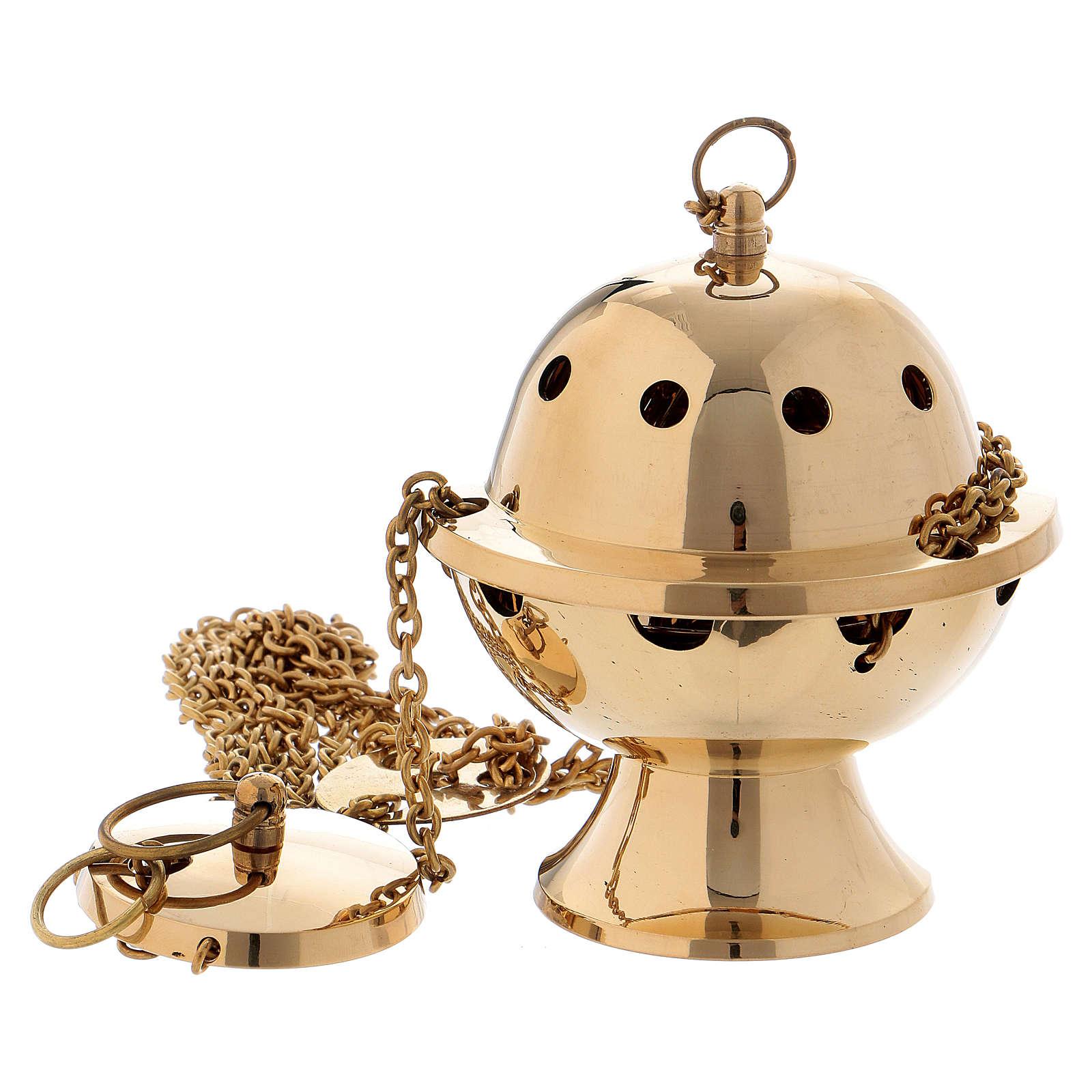 Turibolo semplice ottone dorato lucido 11 cm 3