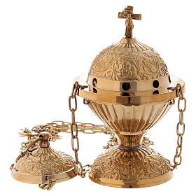 Chiseled thurible gold plated brass 6 in s1