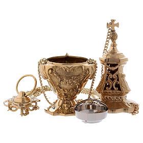 Encensoir style baroque laiton doré 32 cm s4