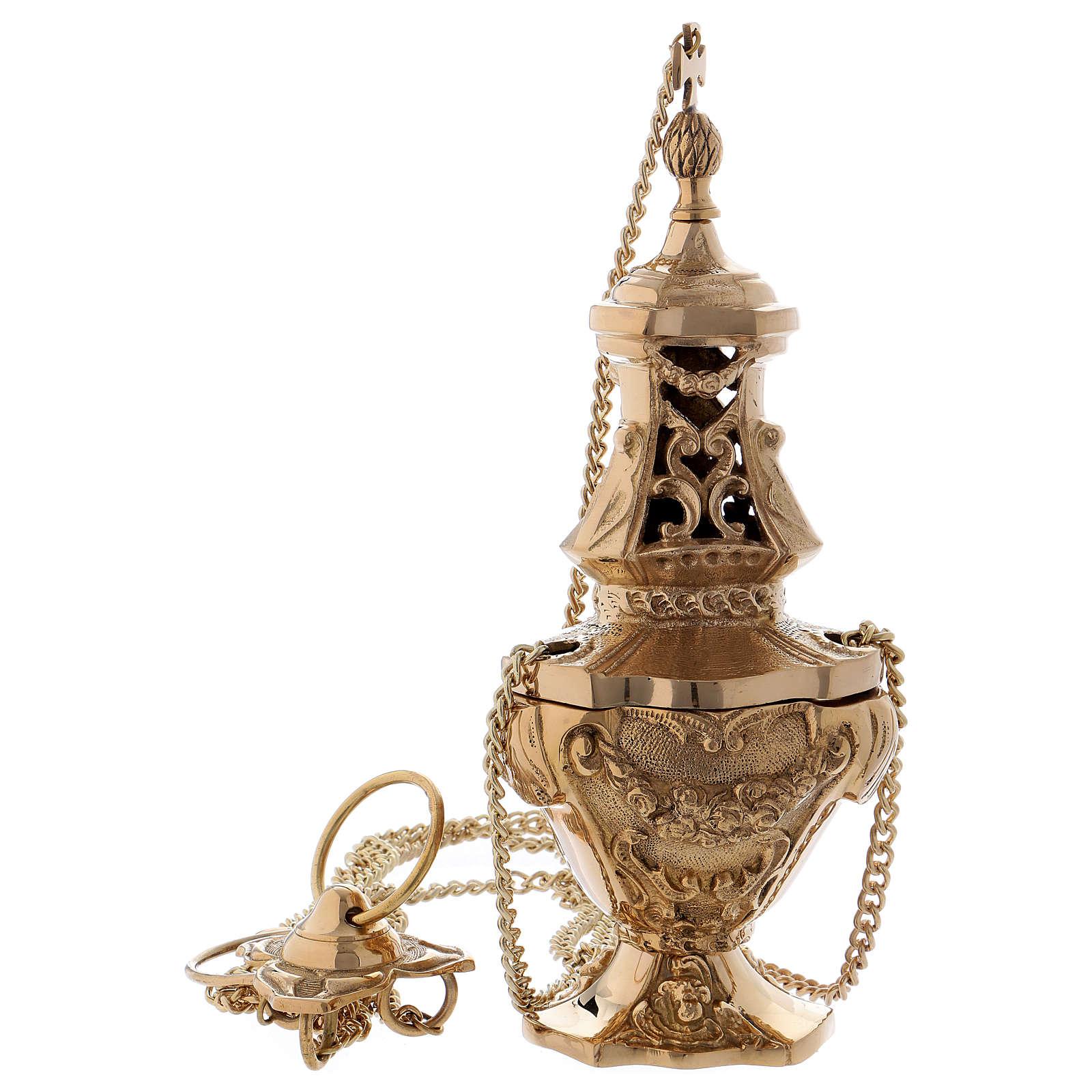 Turibolo stile barocco ottone dorato 32 cm 3