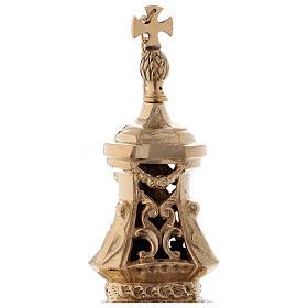 Turibolo stile barocco ottone dorato 32 cm s2