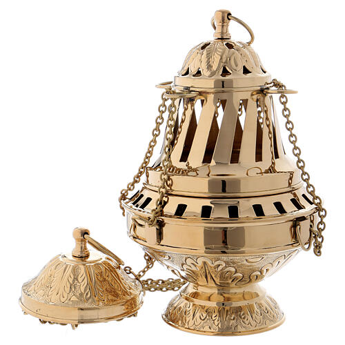 Golden brass censer with inlay and leaf decoration 27 cm 1