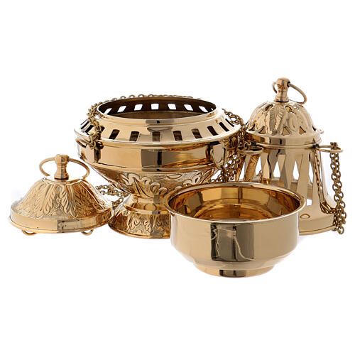 Golden brass censer with inlay and leaf decoration 27 cm 3