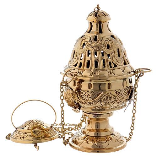 Encensoir ciselé et ajouré laiton doré 26 cm 1