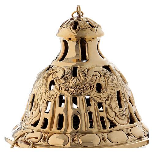Turibolo cesellato e intarsiato ottone dorato 26 cm 2