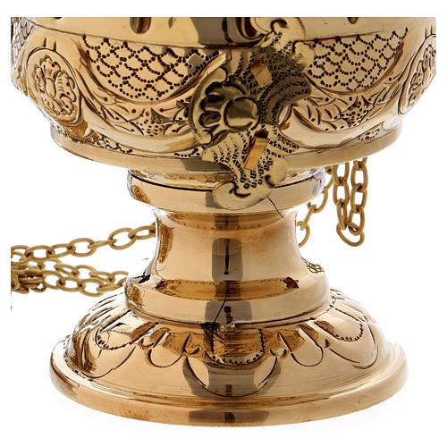 Turibolo cesellato e intarsiato ottone dorato 26 cm 3