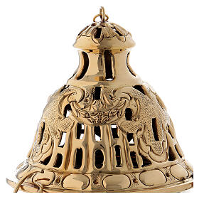 Chiseled thurible with inlays gold plated brass 10 1/4 in s2