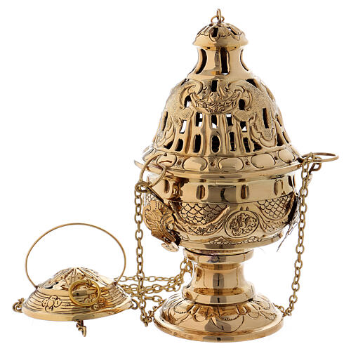 Chiseled thurible with inlays gold plated brass 10 1/4 in 1