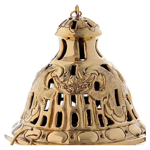 Chiseled thurible with inlays gold plated brass 10 1/4 in 2