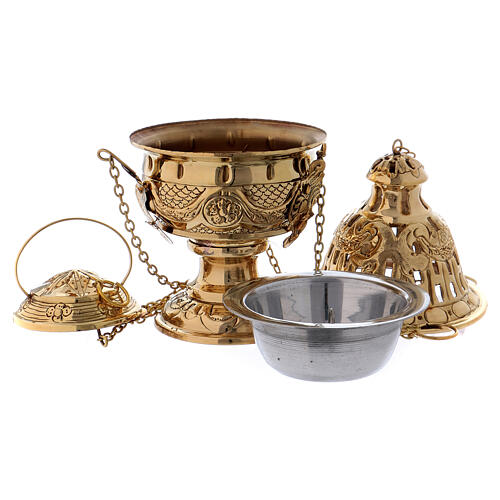 Chiseled thurible with inlays gold plated brass 10 1/4 in 4