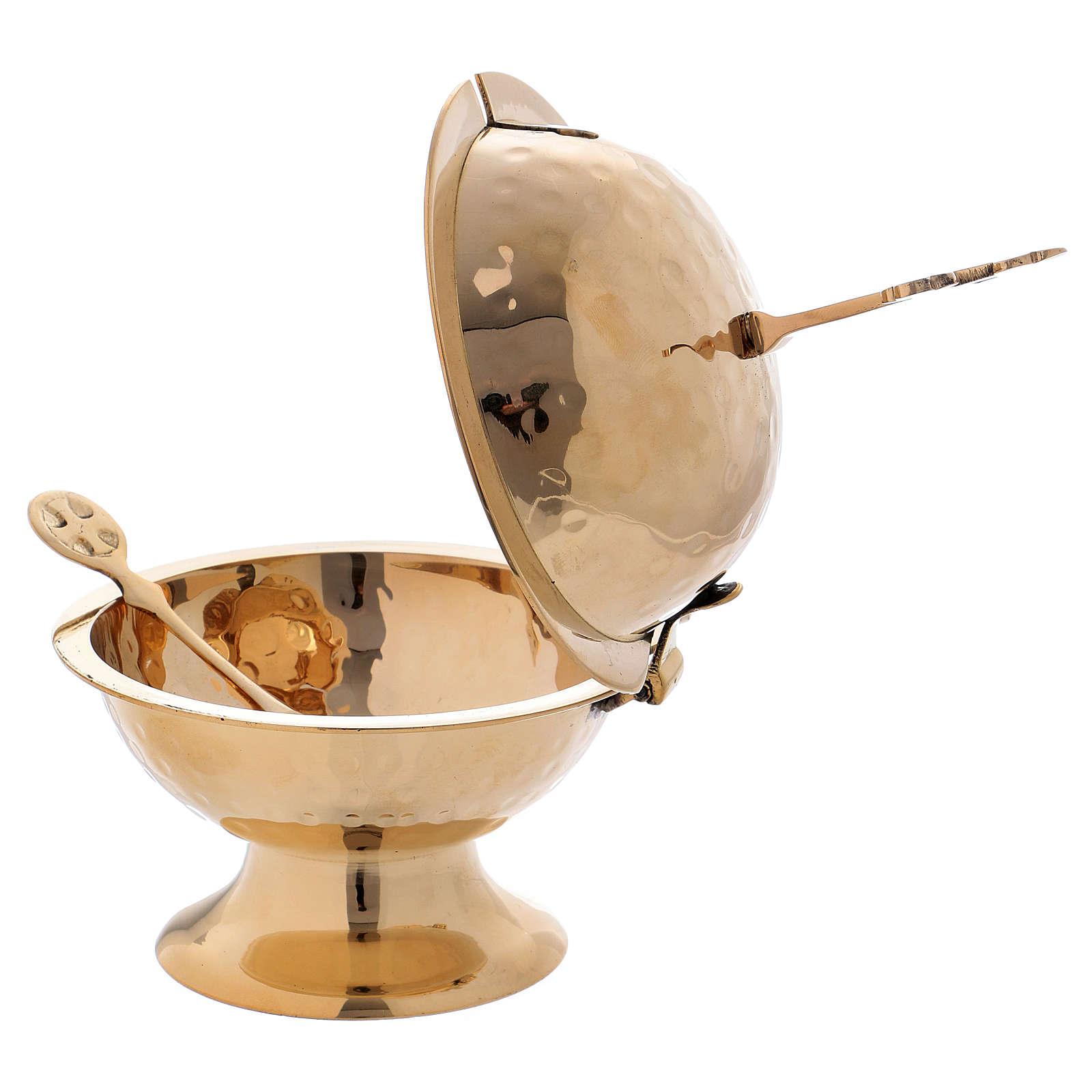 Navetta con croce ottone dorato h 16 cm 3