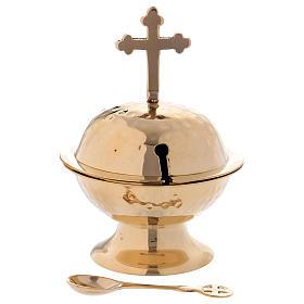Navetta con croce ottone dorato h 16 cm s1