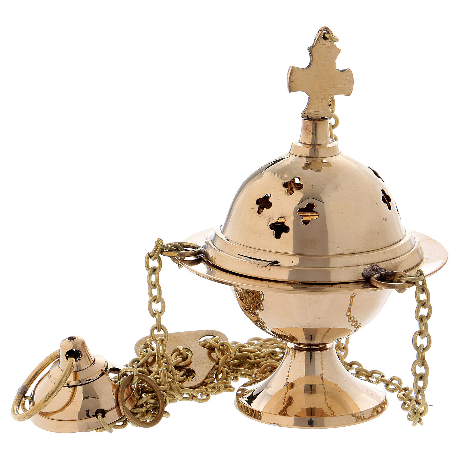 Gold plated brass thurible with perforated crosses 5 in 3