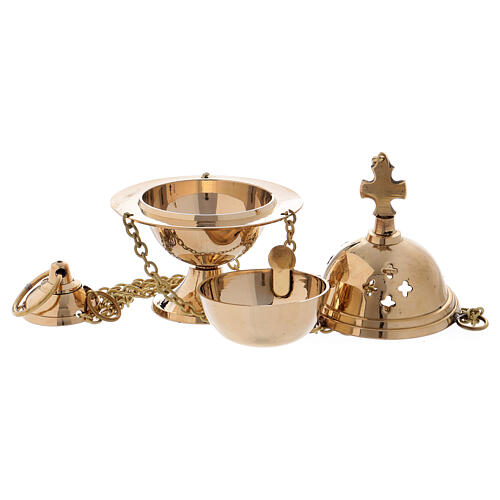 Gold plated brass thurible with perforated crosses 5 in 2