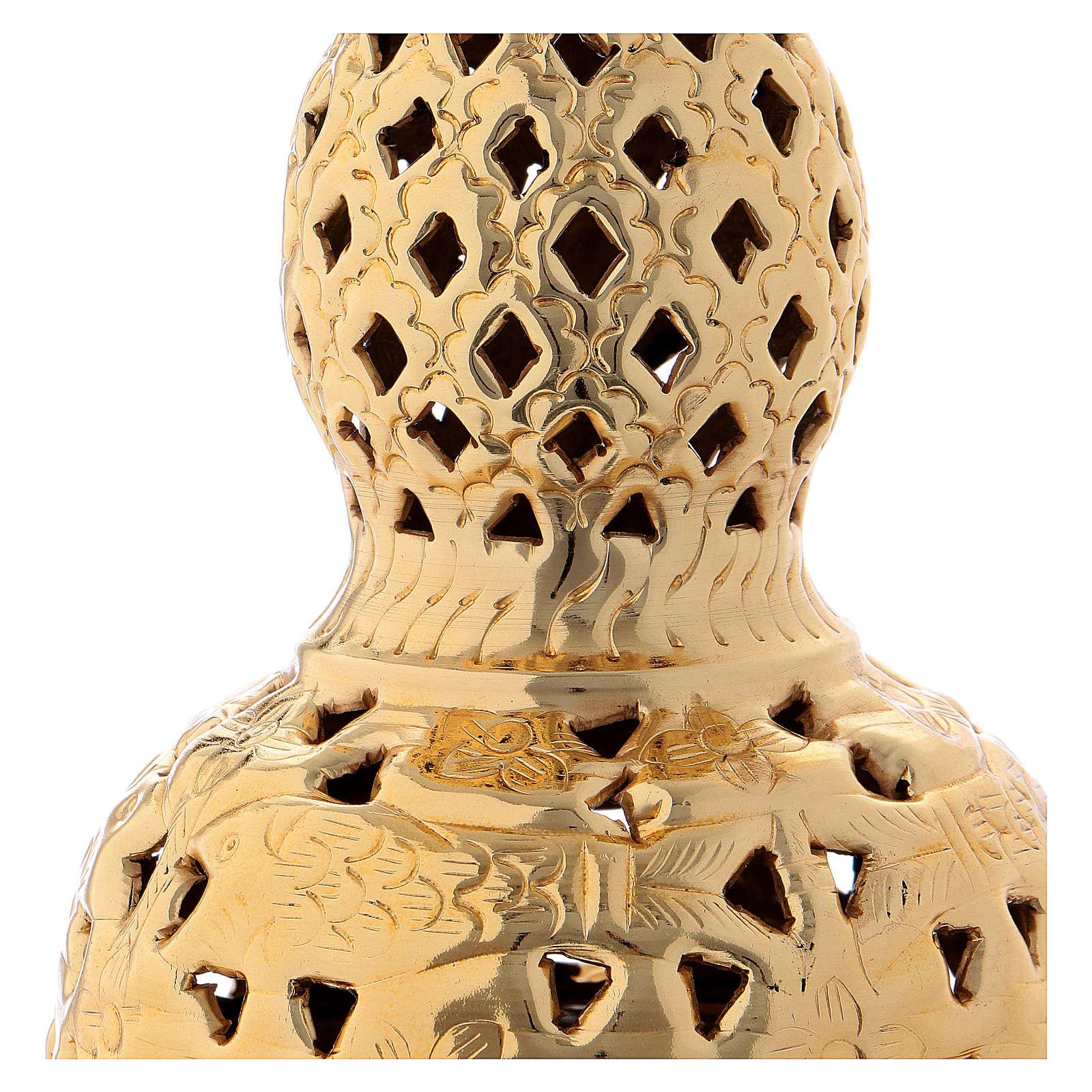 Incensario estilo oriental latón dorado 27 cm 3