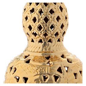 Encensoir style oriental laiton doré 27 cm s2
