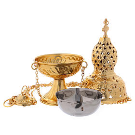 Turibolo stile orientale ottone dorato 27 cm s3