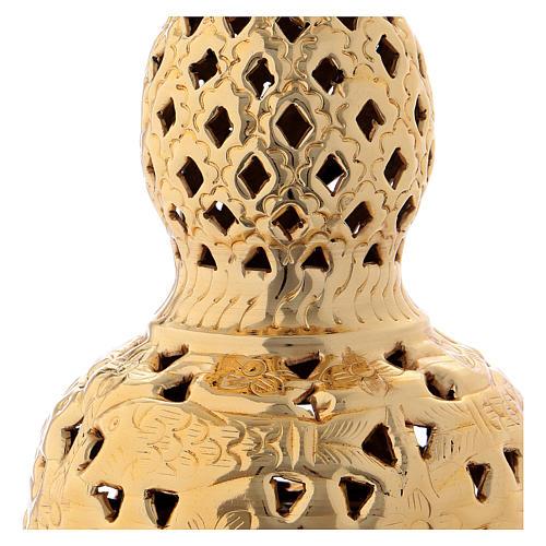 Turibolo stile orientale ottone dorato 27 cm 2