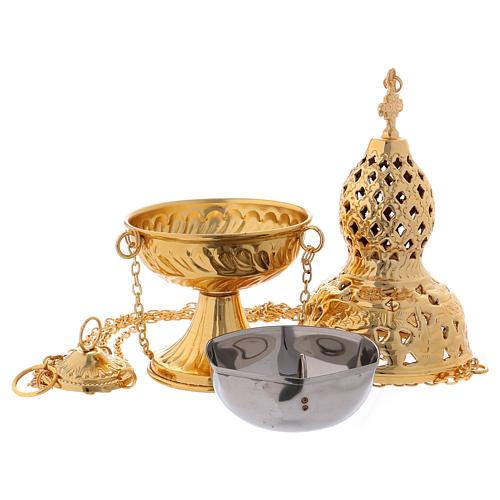 Turibolo stile orientale ottone dorato 27 cm 3