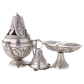 Chiseled thurible and boat crosses and leaves silver finish s1