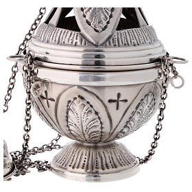 Chiseled thurible and boat crosses and leaves silver finish s4