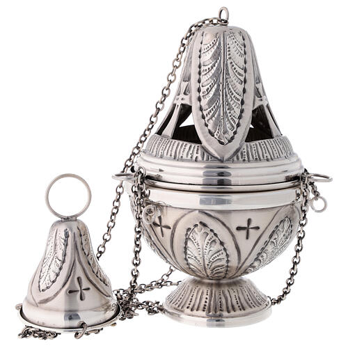 Chiseled thurible and boat crosses and leaves silver finish 3