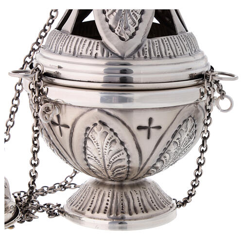 Chiseled thurible and boat crosses and leaves silver finish 4