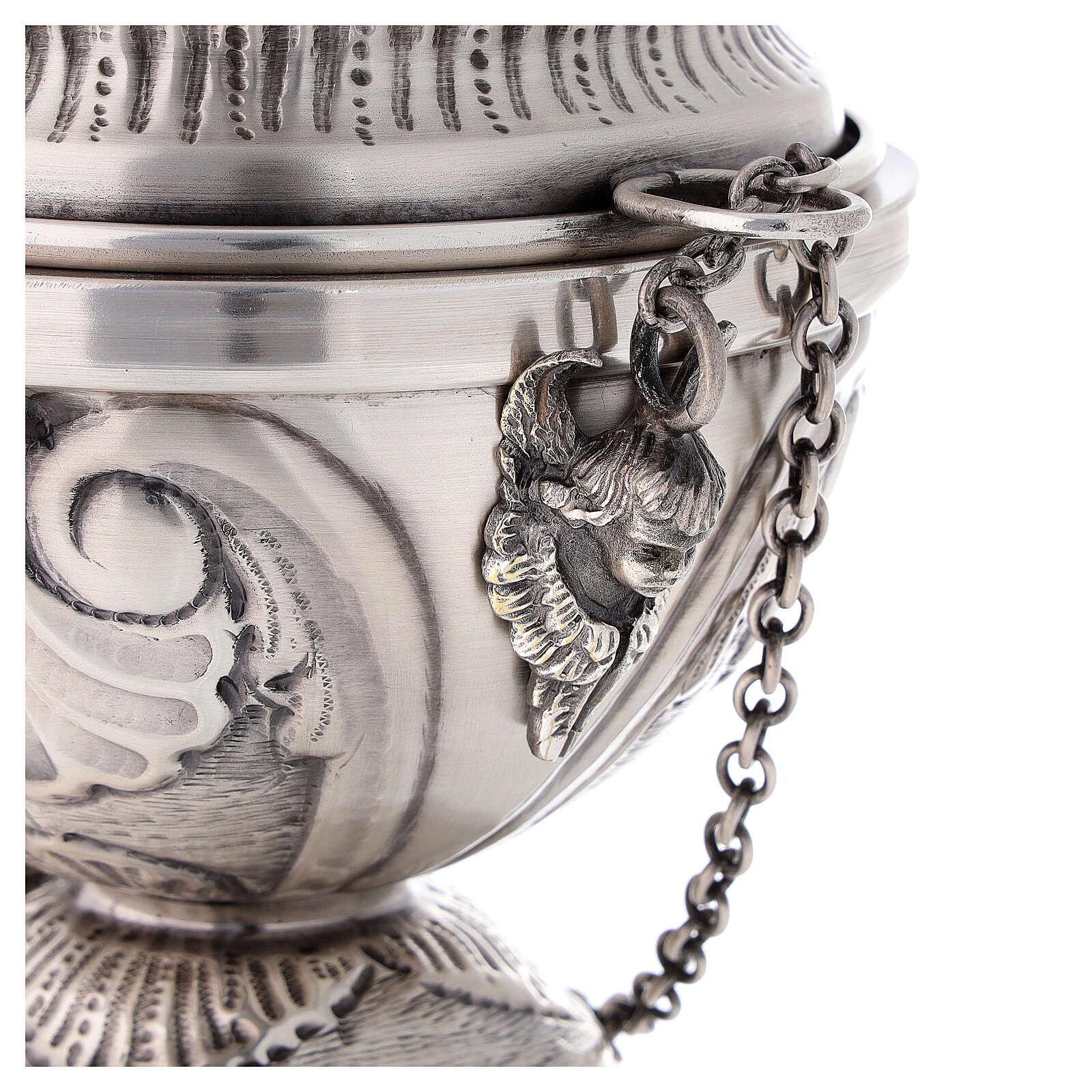 Turibolo e navicella cesellature e angioletti finitura argento 3
