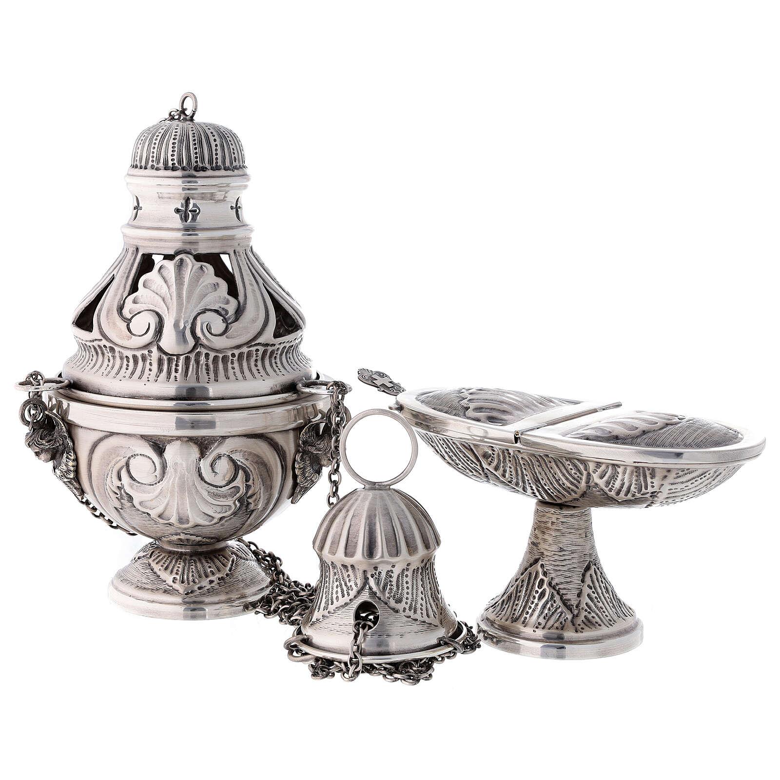 Conjunto turíbulo, naveta e colher com anjos latão prateado cinzelado 3