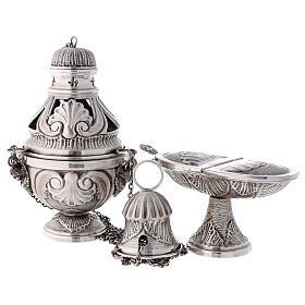 Conjunto turíbulo, naveta e colher com anjos latão prateado cinzelado s1