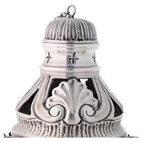 Conjunto turíbulo, naveta e colher com anjos latão prateado cinzelado s2