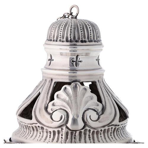 Conjunto turíbulo, naveta e colher com anjos latão prateado cinzelado 2