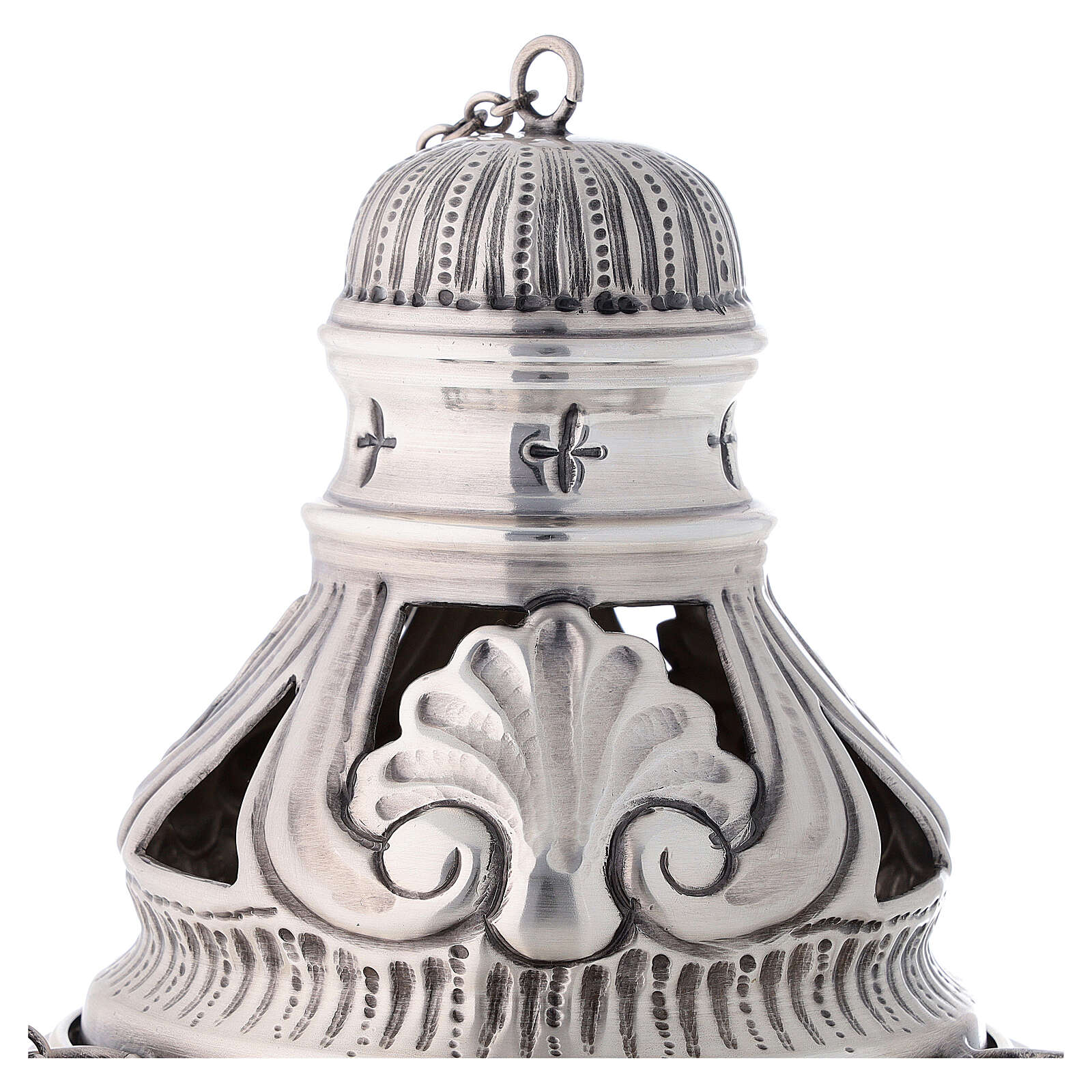 Chiseled thurible and boat with angels silver finish 3