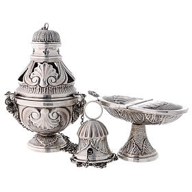 Chiseled thurible and boat with angels silver finish s1