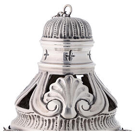 Chiseled thurible and boat with angels silver finish s2