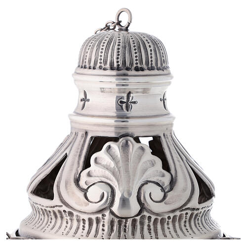 Chiseled thurible and boat with angels silver finish 2