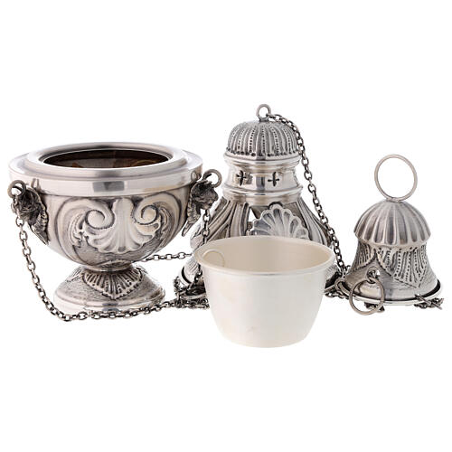 Chiseled thurible and boat with angels silver finish 6