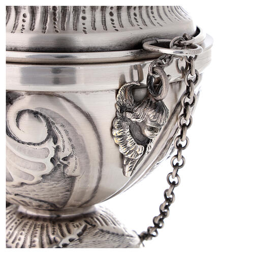 Chiseled thurible and boat with angels silver finish 7