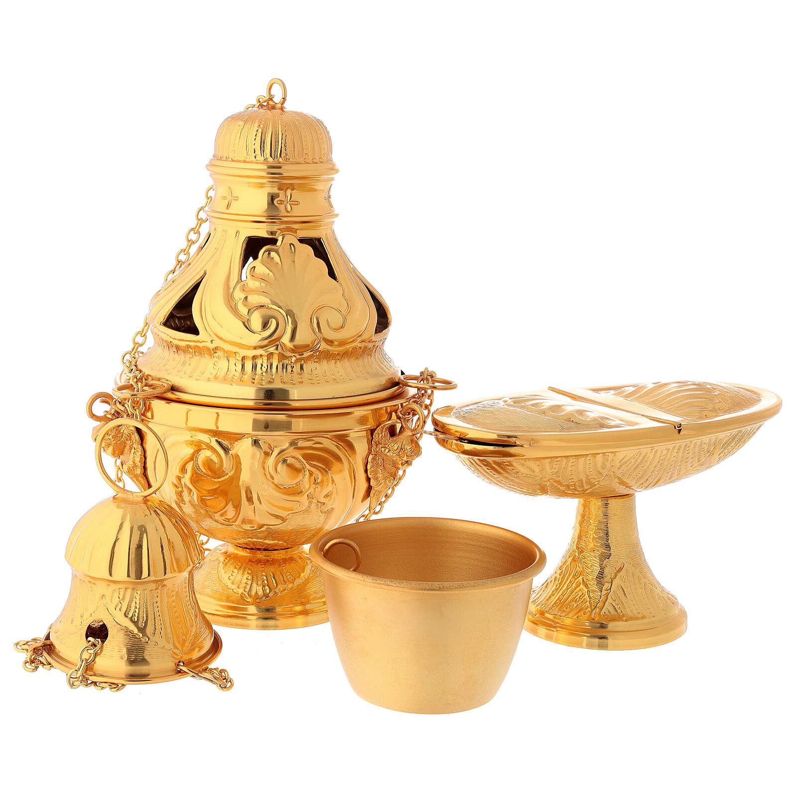 Servicio incensario naveta cucharilla latón dorado cincelado 3