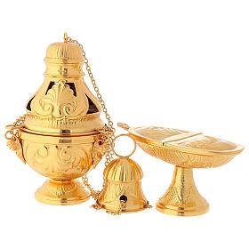 Servicio incensario naveta cucharilla latón dorado cincelado s1