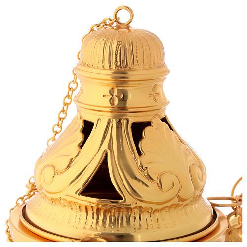 Servicio incensario naveta cucharilla latón dorado cincelado 2